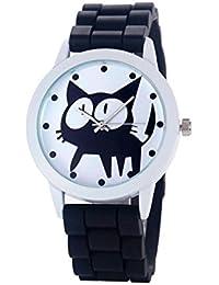 Tongshi las mujeres del silicón del gatito de cuarzo movimiento del reloj