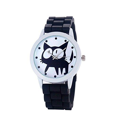 Tongshi las mujeres del silicón del gatito de cuarzo movimiento del reloj (Negro)