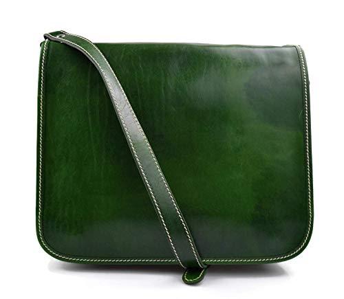 1ad3077b4 Bolso messenger de piel verde bolso de hombre piel bolso de mujer piel  bandolera de cuero