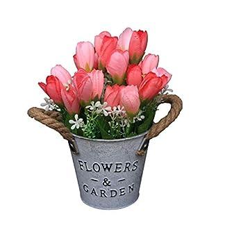 Flikool Tulipanes Artificiales con Macetas Bonsai de Plantas Artificiales en Cubo de Hierro Tulipán Flores Artificiales de Seda Flor Decorativas para Adorno Boda Hogar Oficina Mesa – Pink