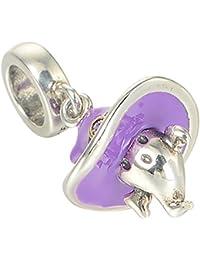 Plata de ley de Halloween Cheeky Ghost púrpura esmalte encanto fr cuentas Pandora Chamilia pulsera Dangle Colgante por bellamira Niños y Niñas Joyas Mujeres de regalo de Halloween