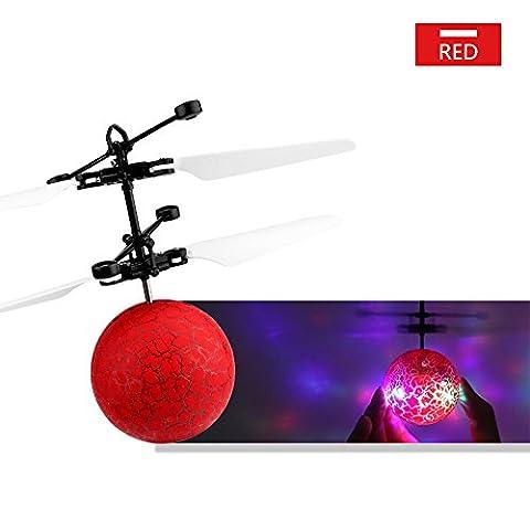 Vingtank RC Flying Ball, Mini Hand Suspension Hubschrauber Flugzeug Infrarot Sensing Eingebauter Regenbogen Shinning LED Beleuchtung für Kinder, Flying Toy für Jungen und Mädchen (Red)