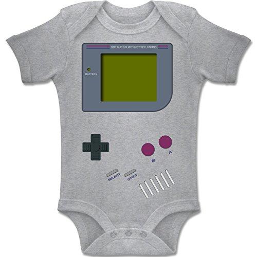 Strampler Motive - Gameboy Shirt - 1-3 Monate - Grau meliert - BZ10 - Kurzarm Baby-Strampler / Body für Jungen...