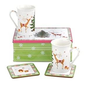 Spode Reindeer Christmas Tree & Gifts 5 Piece Mug & Coaster Set