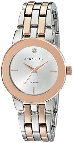 Anne Klein Femme AK/1931svrt Diamond-accented Cadran argenté et couleur or rose Bracelet de montre