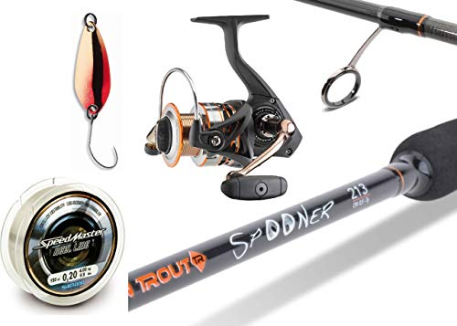 Spooncombo Spinnrute + Spinnrolle + Angelschnur + Daiwa Spoon Set Angelcombo 2g-snap
