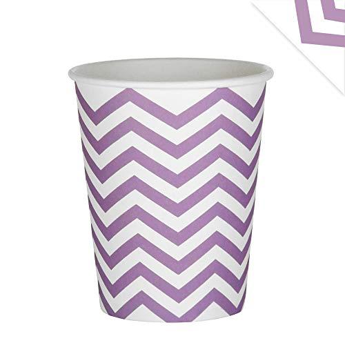 EinsSein 48x Pappbecher Wave 53x75x88mm weiß-Flieder Papierbecher Wellen Party Becher aus Pappe Partygeschirr Pappgeschirr -