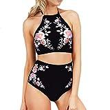 Hunputa Women's Floral Printing Halter Top High Waisted Bottom Bikini Set 2Pcs Swimsuit