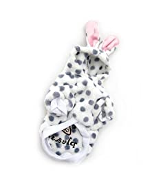Demarkt Fashion Dog Cat Puppy Flannel Fleece Polka Dots Rabbit Shaped Hoodie Costume Clothes Pet Apparel Superdog Dress Up Pet Supplies White and Dots Grey Size Small