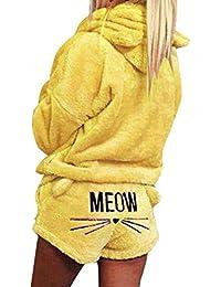 bfca2845b5 Hibote Autumn Winter Pajamas Women Two Piece Pajama Set Warm Coral Fleece  Velvet Suit Kawaii Sleepwear Cute Cat…