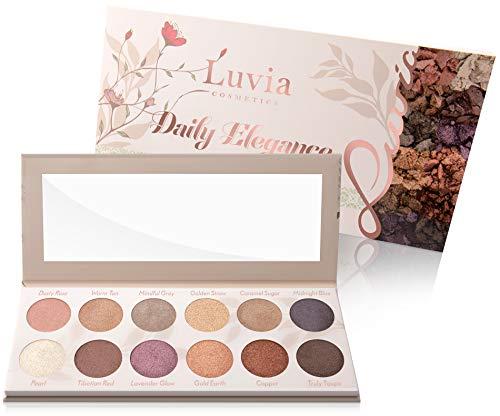 Luvia Lidschatten Palette Glitzer - Daily Elegance Make-Up - Inkl. 12 glamourösen Schimmer Farben - Limitierte Geschenkbox