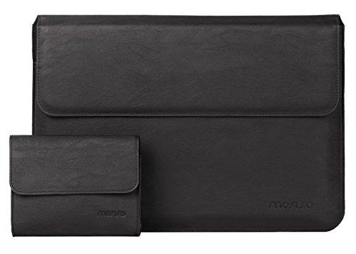 MOSISO Macbook Air & Pro 13 Laptop Hülle Sleeve, Premium PU Leder Laptop case Schutzhülle Tasche mit Standfunktion für MacBook Air 13 Zoll und Macbook Pro 13 Touchbar (2017/2016) / Pro 13 mit Retina Display, Schwarz (Leder-laptop-tasche 13)