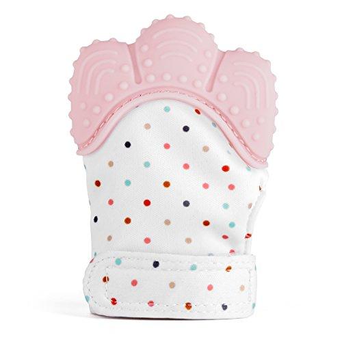 Zooawa Beißringe Baby Ring Teether, Lebensmittel Grade Silikon Kühlbeißring Säugling Zahnen Spielzeug für Babys kühlend, BPA-Frei, für 3–18 Monaten Infants, Rosa