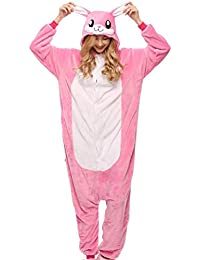SHANGXIAN Adulto Onesies Pijama Kigurumi Conejo Rosa Animal Ropa De Dormir para Disfraces De Fiesta De