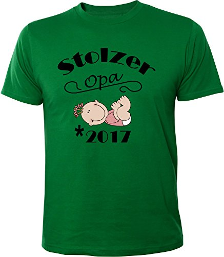 Mister Merchandise Herren Men T-Shirt Stolzer Opa - 2017 Tee Shirt bedruckt Grün