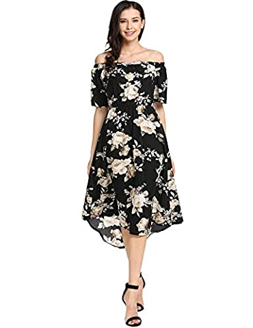 Meaneor Women Casual Slash Neck Off Shoulder Short Sleeve Prints