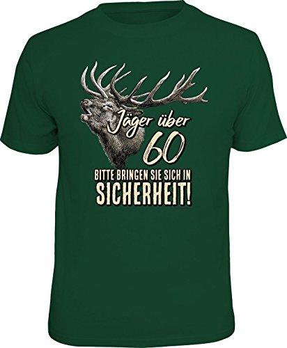 Über Die Jagd T-shirt (Jäger T-Shirt Jäger über 60 - In Sicherheit Jagd Fun Shirt 4 Heroes Geburtstag Geschenk geil Bedruckt mit Urkunde)