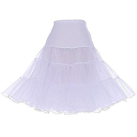 Dresstells 1950 Petticoat Reifrock Unterrock Petticoat Underskirt Crinoline für Rockabilly Kleid White