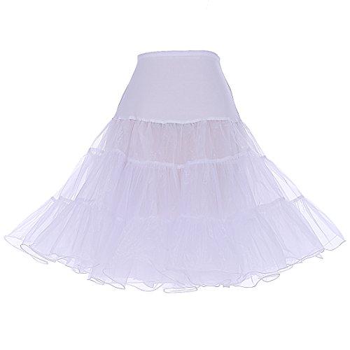 icoat Reifrock Unterrock Petticoat Underskirt Crinoline für Rockabilly Kleid White L ()