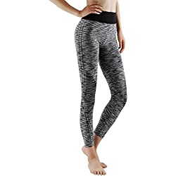 GoVIA 7/8 Legging pour Femme Pantalon de Course à Pied Pantalon de Sport Respirant Pantalon de Yoga Fitness Taille Haute Long Rayures 4103 L/XL