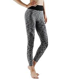 GoVIA 3/4 et 7/8 Legging pour femme Pantalon de course à pied Pantalon de sport respirant Pantalon de Yoga Fitness Taille haute Long Rayures 4103