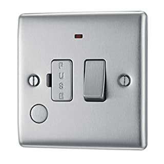 Masterplug NBS53 13 A Metal Brushed Steel Switched Fused Connection Unit with Neon and Cable Outlet