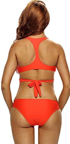 GBT Bra Rennen Zurück Halterstrand Triangel-Bikini Badeanzug Split Orange