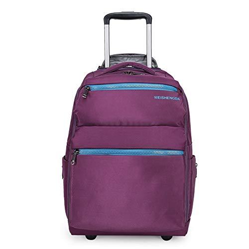 TTHU 20 Zoll Trolley Rucksack große Lagerung Multifunktions wasserdichte Reise auf Rädern rollenden Laptop Rucksack Gepäck,Purple - Auf Rädern-reise-rucksack