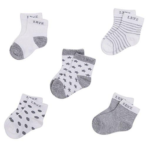 CHIC-CHIC 5 Paare 0-36 Monate Säugling Baby Jungen und Mädchen Unisex Kleinkind Fuß Socken Streifen Tropfen Einfarbig (0-12 Monate, Grau)