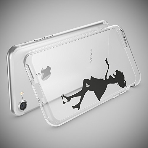 iPhone 8 / 7 Hülle Handyhülle von NICA, Slim Silikon Motiv Case Crystal Schutz Dünn Durchsichtig, Etui Handy-Tasche Back-Cover Transparent Bumper für Apple iPhone 7 / 8 - Transparent Shadow Girl
