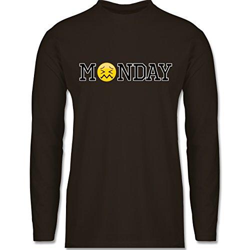 Statement Shirts - Monday Emoji - Longsleeve / langärmeliges T-Shirt für Herren Braun
