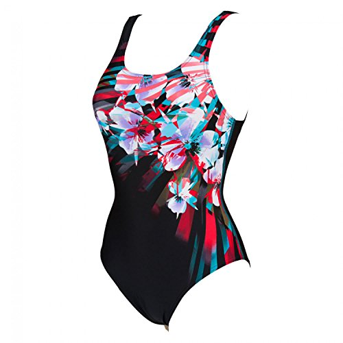 Arena Damen Badeanzug Flor U Back One Piece 1A611 Black,Peacock,Red 38