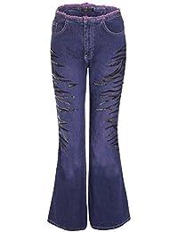 Mujer Vintage Retro Boot-cut Vaqueros Denim Con Lentejuelas Pantalones