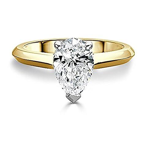 Forever Diamond - 14K Yellow Gold 14K Gelbgold Tropfenschliff Hochfeines Weiß +/River (D) Diamant