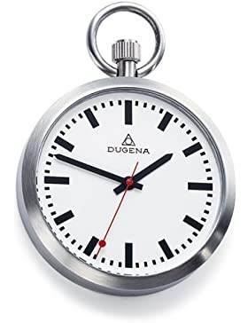DUGENA 4288025 Taschenuhr Lepine mit Kette Uhr Unisex Edelstahl Analog weiss