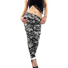 if she Damen Skinny Hose Army Safari Cargo Military Look Tarnfarben  Camouflage Stretch cebf18c70b