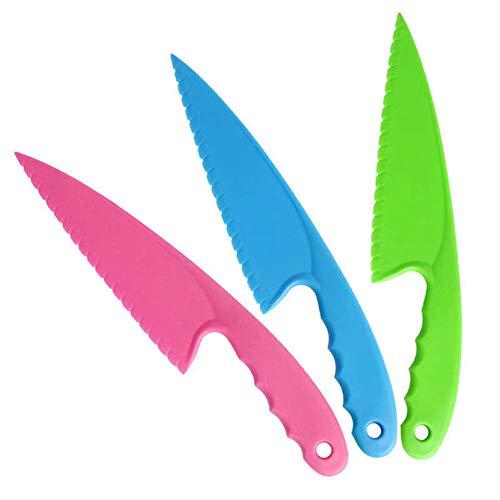 TXIN 3 Stück BPA frei Messer Erdbeeren Torte Plastik Schneider Sicher Rutschfeste Möhren Kinder Messer