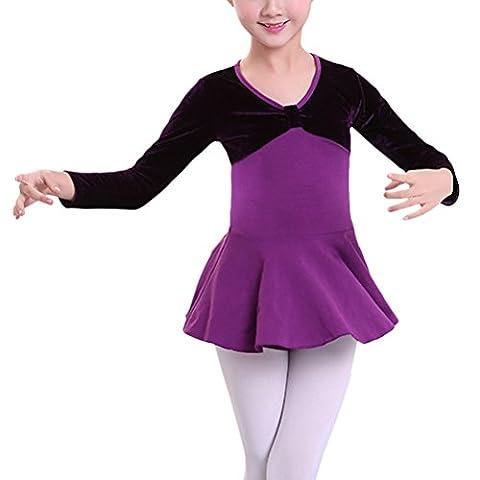 Costumes Velvet Ballet - Zhuhaitf Girls Danse Gymnastics O-Neck Velvet Long