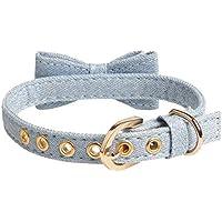 Reputedc Cuello de Arco de Mezclilla Azul Collar de Mascota Collar de Perro pequeño y Mediano- Un tamaño