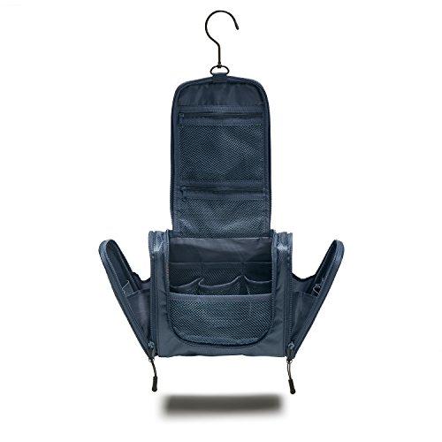 TRABONA Kulturbeutel zum Aufhängen - Kulturtasche mit verbessertem Konzept [2018] - Waschbeutel in Premium-Qualität (Navy Blau)