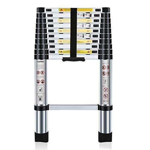 Nestling® Teleskopleiter 3.2M Alu Leiter Ausziehbar Haushaltsleiter Teleskopleiter Aluminium Klappleiter Ausziehleiter Mehrzweckleiter -Maximale Belastbarkeit 150 kg
