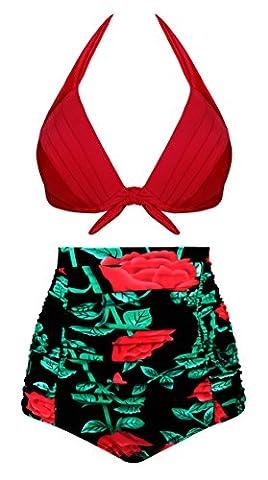 Aixy Femme Vintage Maillots de Bain Imprimé Floral Taille Haute Bikini Set 2 Pièces Rouge