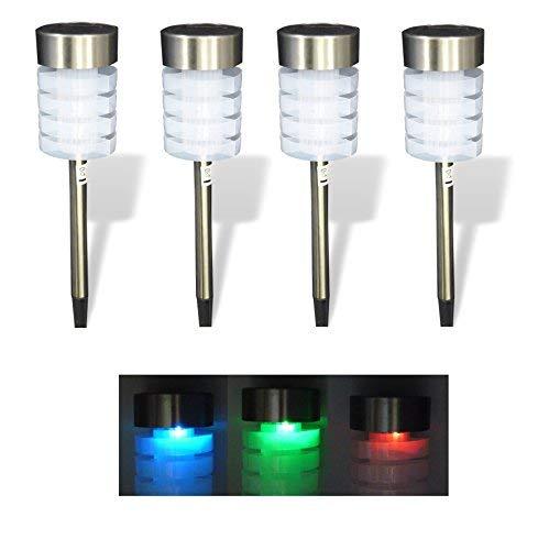 Best-Accessoires4All 4 x LED Solarlampe Solarleuchte Solar Licht Gartenbeleuchtung Außenbeleuchtung mit Wechselfarben Farbwechsel