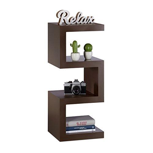 Relaxdays Retro Standregal im Zickzack Design, Dekoregal für DVD, CDs, schmales Pflanzenregal HxBxT 75x30x30 cm, braun (Bücherregal Braunes)