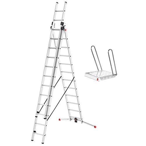 Hailo ProfiLOT Alu-Kombileiter (mit Einhängetritt, 3-teilige, 3 x 12 Sprossen, LOT-System, bis 150 kg) 9312-107