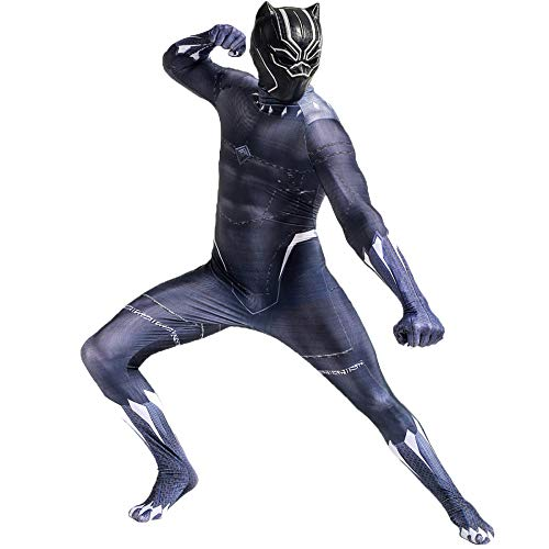 QQWE Marvel Black Panther Costume Cosplay The Avengers Fancy Dress Costume Adulto Bambini Halloween Natale Performance Costume Prop Tute Tuta,B-Adult-XXL