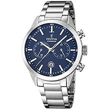 Festina F16826/2 - Orologio al quarzo da uomo, con quadrante blu, cronografo e cinturino in acciaio INOX di colore argento