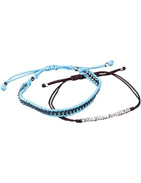 2 Stücke Silber Perle Einstellbar Armband Entwurf Leder Armband Armreif zum Frau