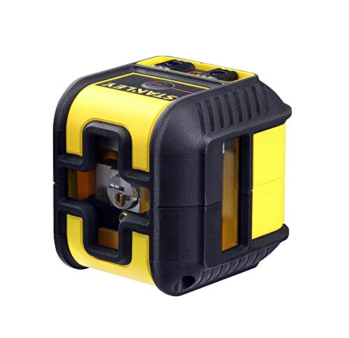 Stanley STHT77502-1 Kreuz-un CROSS90 (kompakter Linienlaser, mit roter Diode, selbstnivellierend, Laserklasse 2, inkl. Wandhalterung, 2x Batterien und Transporttasche, 1,5 V) gelb/schwarz
