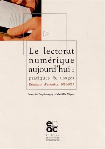 Lectorat numerique aujourd'hui : pratiques & usages